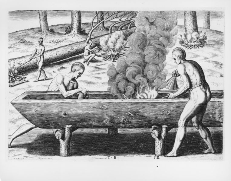 Indigenous Americans making a dugout canoe, a practice which they had done for centuries