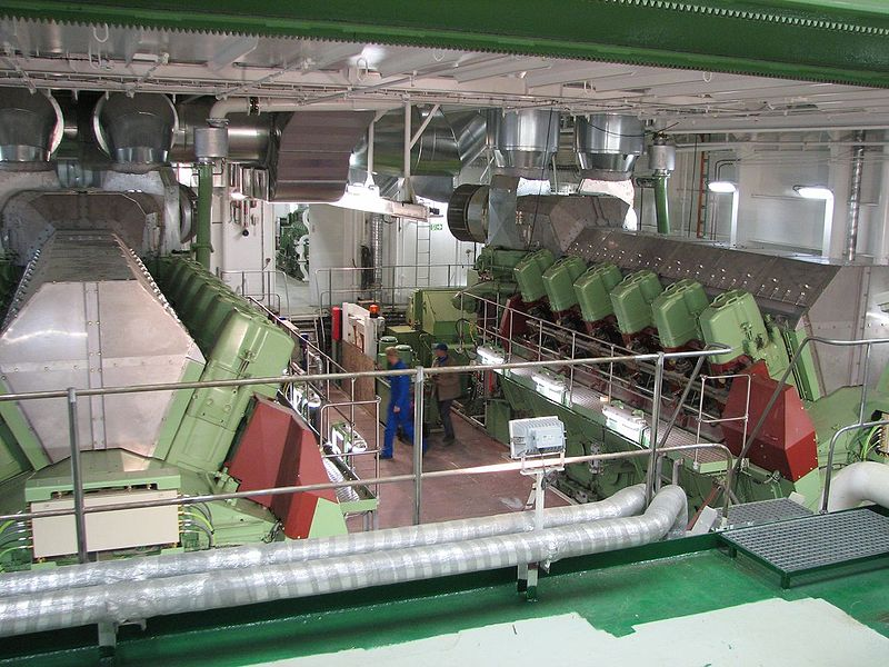 Ship's engine room with twin V-12 diesel engines. GNU Wikipedia