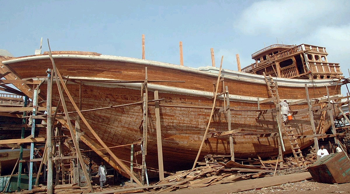 A giant wooden boat being built by hand in Karachi, Pakistan