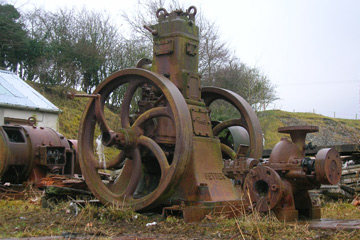 A Petter (Yeovil made) hot bulb engine at Laigh Dalmore quarry in Stair, East Ayrshire, Scotland.