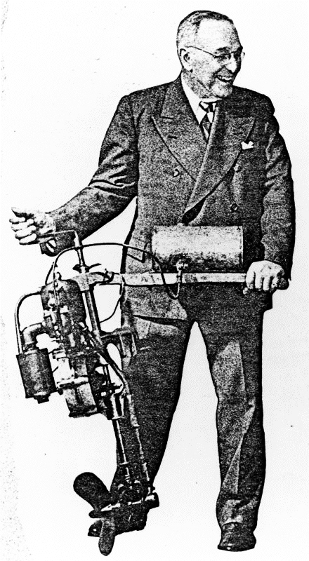 Cameron B. Waterman with his prototype outboard motor. Photo courtesy of Grosse Ile Historical Society