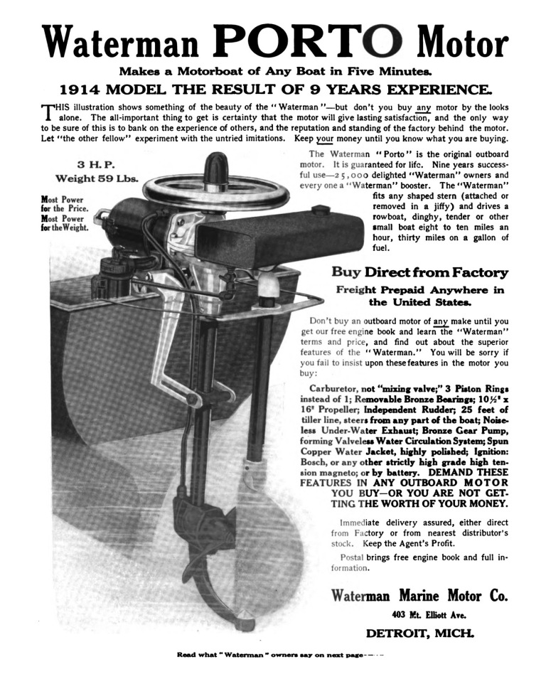 Yachting August 1914 Waterman Outboard Ad